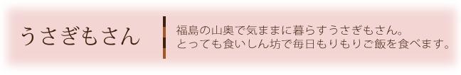うさぎもさん 福島の山奥で気ままに暮らすうさぎもさん。とっても食いしん坊で毎日もりもりご飯を食べます。
